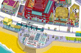 blackpool resort map illustration for visit blackpool on behance
