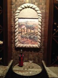 wine cellar tiles pacifica tile art studio tuscan mural for arched niche in wine cellar