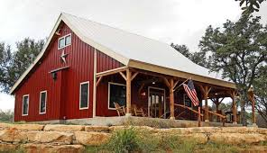 Prefab Metal Barns Country Barn Home Kit W Open Porch 9 Pictures Metal Building
