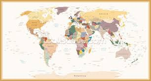 political world map vintage colours wallpaper wall mural