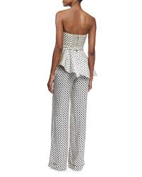 polkadot top johanna ortiz strapless polka dot silk peplum top white black