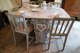 shabby chic dining table and 4 chairs french country style grey