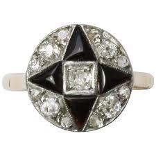 art deco onyx diamond gold engagement ring at 1stdibs