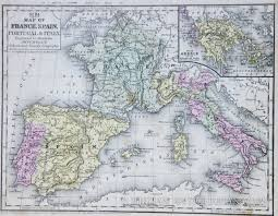 France Spain Map by Map Of France Spain Italy 1854