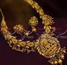 gold antique necklace sets images Nl8697 one gram gold antique temple handmade laxmi god jewellery JPG