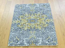 Modern Wool Rugs Sale 2 X3 Knotted Abstract Design Wool And Silk Modern