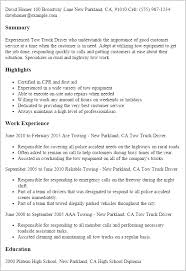 Resume Samples For Truck Drivers With An Objective by Professional Tow Truck Driver Templates To Showcase Your Talent