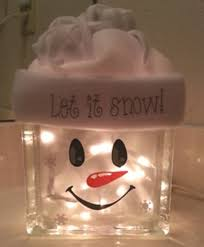 snowman decoration glass block night light 1 xmas 2017