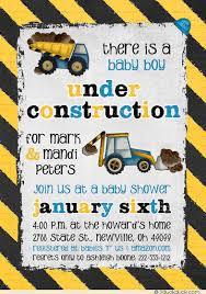 under construction baby shower invitation boy trucks under