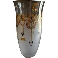 Stained Glass Vase Vintage Egermann Czech Republic