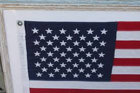 Red White Flag With Blue Star Mid 20th Century 50 Star American Ships Flag With Custom Frame For