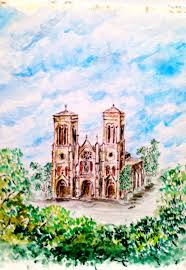 cathedral of san fernando original watercolor on strathmore watercolor paper