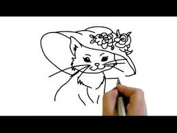 how to draw beautiful drawing drawing of beautiful cat with hat and flowers how to draw yzarts