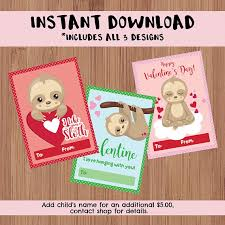 sloth valentines day card instant classroom printable s day cards kid s