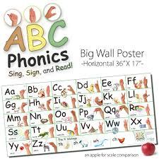 abc phonics sing sign and read big asl horizontal wall