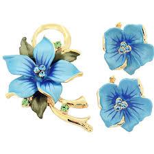 blue poinsettia swarovski flower pin brooch and earrings