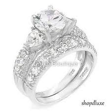 silver wedding ring sets 4 15 ct cut cz 925 sterling silver wedding ring set women s