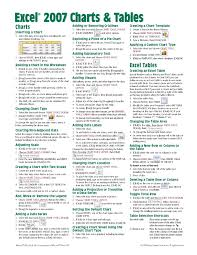 microsoft excel 2007 charts u0026 tables quick reference guide cheat