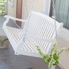 Patio Swing Springs Curved Back 5 Ft Porch Swing In White Wood Finish With Comfort