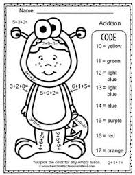 free color numbers halloween addition addends