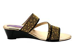 womens low wedge strappy studded jewel sandals ladies mules shoes