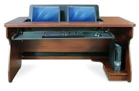 Desk For Dual Monitor Setup Dual Monitor Computer Desk One Portrait One Landscape Dual Monitor