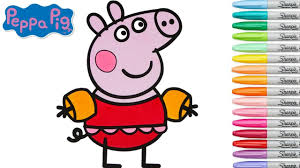 peppa pig coloring book games swimming suit pool party coloring
