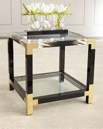 black and gold side table wooden framed gold corners side table