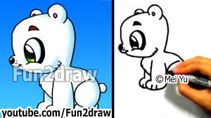 how to draw a cartoon polar bear easy things animals cool litle pups