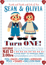 Twins 1st Birthday Invitation Cards Tripp Party Of Five Twins 1st Birthday Raggedy Ann And Andy
