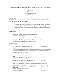 Resume Sample For Cook by Sample Chef Resume Template For Hospitality Major And Culinary