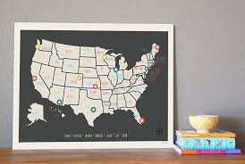 amazon com usa travel map wall art print personalized travel