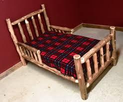 Log Bedroom Furniture Cedar Log Toddler Bed With Side Rails