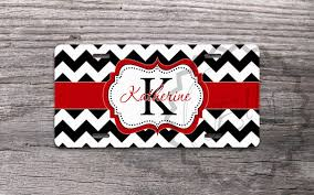 Front Vanity Plates Monogrammed License Plate Black Chevron With Pretty Red Ribbon
