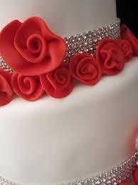 white wedding cake red roses with rhinestones lexington kentucky
