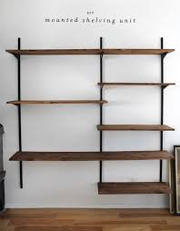 Family Room Cool Bookcases Ideas Diy Mounted Shelving Shelving Diy Wall And Wall Mount