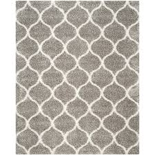 shop safavieh hudson hathaway shag gray ivory rectangular indoor