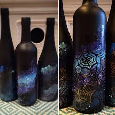 spooky halloween painted wine bottles diy galaxy spiderweb design