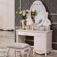 modern ivory white french design wooden dressing table cheval