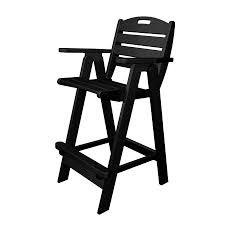 nautical chairs shop polywood nautical black plastic patio bar stool chair at
