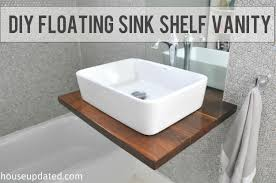 How To Install A Bathroom Sink And Vanity Diy Walnut Floating Shelf Sink Vanity House Updated
