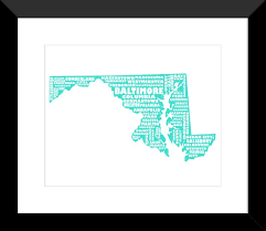 map of maryland to print maryland poster state map maryland typography map print
