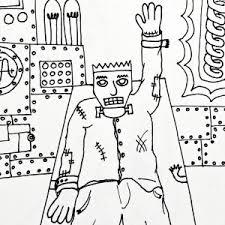 free printable coloring frankenstein felt love designs