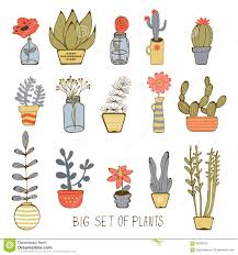 Cute Plant by Cute Hand Drawn Collection Of House Plants Stock Vector Image
