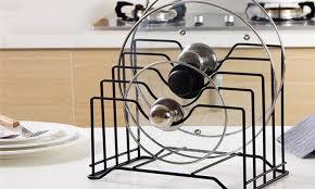 kitchen cabinet door pot and pan lid rack organizer cabinet wall door mounted pot lid rack chrome finish metal