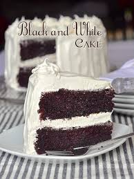 black and white cake with kid approved marshmallow frosting too
