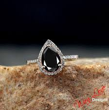 layaway engagement rings black spinel pear halo ring white yellow gold
