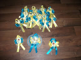 3 custom baby shower corsages and 20 pin ons capias
