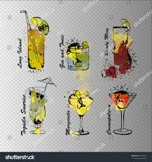 cosmopolitan clipart vector illustration cocktail set on transparent stock vector