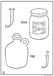 alphabet j with picture coloring pages jam jug mewarnai